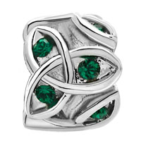 Charms Beads - MAY BIRTHS EMERALD GREEN CRYSTAL CELTIC CLADDAGH IRISH CHARM CHARM alternate image 2.