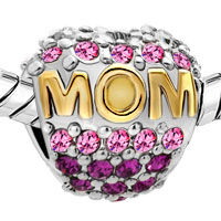 Charms Beads - MOTHER DAUGHTER CHARMS 22K GOLD OCT BIRTHS BEAD CHARM PINK CRYSTAL alternate image 1.