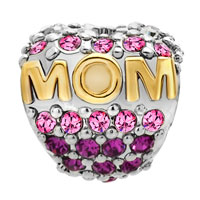 Charms Beads - MOTHER DAUGHTER CHARMS 22K GOLD OCT BIRTHS BEAD CHARM PINK CRYSTAL alternate image 2.