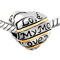 Charms Beads - HEART CHARM BRACELET LOVE MY MUM CLIP LOCK STOPPER EUROPEAN BEAD alternate image 1.