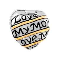 Charms Beads - ANTIQUE HEART LOVE MUM FIT TWO TONE PLATED BEADS CHARMS BRACELETS ALL BRANDS alternate image 2.