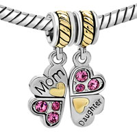 Charms Beads - MOTHER DAUGHTER CHARM BRACELETS HEART LOVE BUTTERFLY CHARM BRACELET alternate image 1.