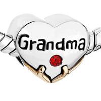 Charms Beads - HEART CHARM BRACELET GRANDMA RED SWAROVSKI CRYSTAL LOVE BEADS CHARM alternate image 1.