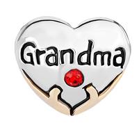 Charms Beads - HEART CHARM BRACELET GRANDMA RED SWAROVSKI CRYSTAL LOVE BEADS CHARM alternate image 2.