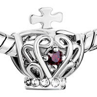 Charms Beads - SILVER FILIGREE SILVER CROSS BRACELET CHARM ON CROWN GARNET RED alternate image 1.