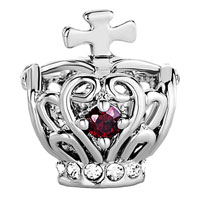 Charms Beads - SILVER FILIGREE SILVER CROSS BRACELET CHARM ON CROWN GARNET RED alternate image 2.