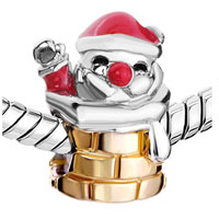 Charms Beads - RED DRIP SANTA CLAUS IN CHIMNEY EUROPEAN BEAD CHARMS BRACELETS alternate image 1.