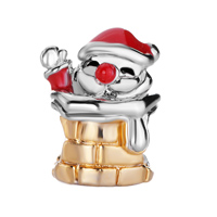 Charms Beads - RED DRIP SANTA CLAUS IN CHIMNEY TWO TONE PLATED BEADS CHARMS BRACELETS FIT ALL BRANDS alternate image 2.