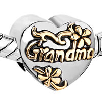 Charms Beads - HEART FLORAL EUROPEAN BEAD CHARMS CHARMS BRACELETS GRANDMA LOVE alternate image 1.