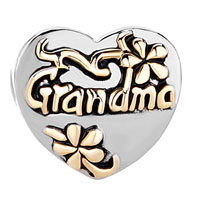 Charms Beads - HEART FLORAL EUROPEAN BEAD CHARMS CHARMS BRACELETS GRANDMA LOVE alternate image 2.
