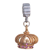Charms Beads - GOLDE CROWN WITH ROSE PINK OCTOBER BIRTHS CHARM BRACELET SPACER DANGLE alternate image 2.