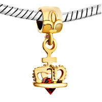 Charms Beads - 22 K GOLDEN PLATED CROWN INDIAN RED CRYSTAL DANGLE FIT ALL BRANDS BEADS CHARMS BRACELETS alternate image 1.