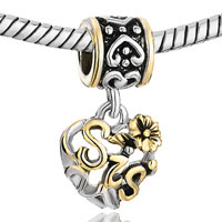 Charms Beads - HEART LOVE FLOWER DANGLE BIG SISTER CHARM BRACELET EUROPEAN BEADS alternate image 1.