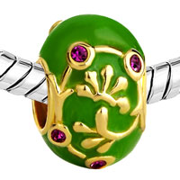 Charms Beads - GREEN PURPLE CRYSTAL AGAINST GOLDEN VINE BEADS CHARMS BRACELETS alternate image 1.