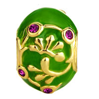 Charms Beads - GREEN PURPLE CRYSTAL AGAINST GOLDEN VINE BEADS CHARMS BRACELETS alternate image 2.