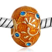 Charms Beads - ORANGE AQUAMARINE CRYSTAL AGAINST GOLDEN VINE BEADS CHARM BRACELETS alternate image 1.