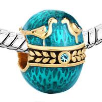 Charms Beads - 22K GOLD AQUAMARINE BLUE COUPLE BIRDS LOVE FABERGE EGG BEAD CHARM alternate image 1.