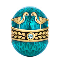 Charms Beads - 22K GOLD AQUAMARINE BLUE COUPLE BIRDS LOVE FABERGE EGG BEAD CHARM alternate image 2.