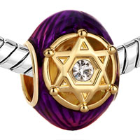 Charms Beads - PURPLE CRYSTAL IN DOUBLE TRIANGLES RAYED STAR OF DAVID BEAD GOLD alternate image 1.