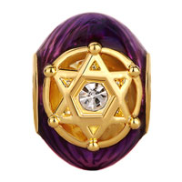 Charms Beads - PURPLE CRYSTAL IN DOUBLE TRIANGLES RAYED STAR OF DAVID BEAD GOLD alternate image 2.