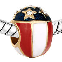 Charms Beads - WHITE RED CREAM BLUE STARS FABERGE EGG GOLD PLATED BEADS CHARMS BRACELETS FIT ALL BRANDS alternate image 1.