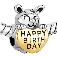 Charms Beads - 22K GOLDEN RABBIT HOLDING HEART CHARM BRACELET LOVE HAPPY BIRTHDAY alternate image 1.