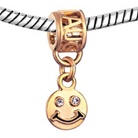 Charms Beads - FILIGREE 22K GOLDEN LAUGH DANGLE SMILE FACE BEADS CHARMS BRACELETS alternate image 1.
