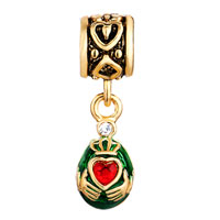 Charms Beads - VINTAGE GOLDEN PATTERN DANGLE CLADDAGH LOVE BEADS CHARMS EUROPEAN alternate image 2.