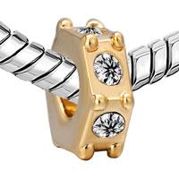 Charms Beads - SILVER 22K GOLDEN SWAROVSKI ELEMENT CRYSTAL CHARM BRACELET SPACERS alternate image 1.