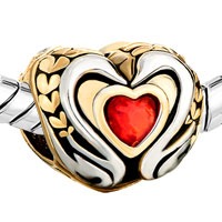 Charms Beads - 22K GOLDEN TWO TONE SWAN COUPLE LIGHT RED CRYSTAL HEART CHARM alternate image 1.