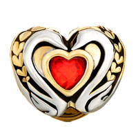 Charms Beads - 22K GOLDEN TWO TONE SWAN COUPLE LIGHT RED CRYSTAL HEART CHARM alternate image 2.