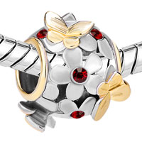 Charms Beads - SILVER 22K GOLD GARNET RED FLOWER GOLDEN BUTTERFLY CHARM BRACELET alternate image 1.