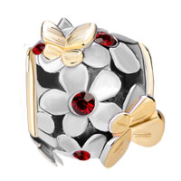 Charms Beads - SILVER 22K GOLD GARNET RED FLOWER GOLDEN BUTTERFLY CHARM BRACELET alternate image 2.