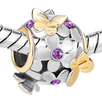 Charms Beads - 22K GOLD AMETHYST PURPLE FLOWER GOLDEN BUTTERFLY CHARM BRACELET alternate image 1.