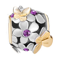 Charms Beads - 22K GOLD AMETHYST PURPLE FLOWER GOLDEN BUTTERFLY CHARM BRACELET alternate image 2.