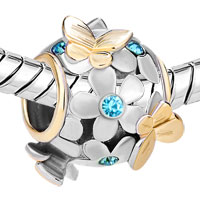 Charms Beads - 22K GOLD AQUAMARINE BLUE FLOWER GOLDEN BUTTERFLY CHARM BRACELET alternate image 1.