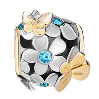 Charms Beads - 22K GOLD AQUAMARINE BLUE FLOWER GOLDEN BUTTERFLY CHARM BRACELET alternate image 2.
