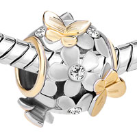 Charms Beads - SILVER 22K GOLD CLEAR WHITE FLOWER GOLDEN BUTTERFLY CHARM BRACELET alternate image 1.