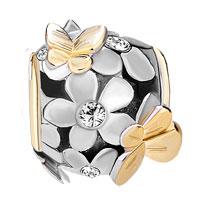 Charms Beads - SILVER 22K GOLD CLEAR WHITE FLOWER GOLDEN BUTTERFLY CHARM BRACELET alternate image 2.