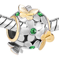 Charms Beads - SILVER 22K GOLD EMERALD GREEN FLOWER GOLDEN BUTTERFLY CHARM BRACELET alternate image 1.