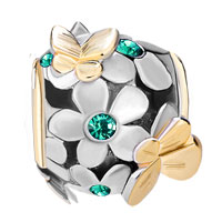 Charms Beads - SILVER 22K GOLD EMERALD GREEN FLOWER GOLDEN BUTTERFLY CHARM BRACELET alternate image 2.