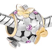 Charms Beads - 22K GOLD ALEXANDRITE AMETHYST FLOWER GOLDEN BUTTERFLY CHARM BRACELET alternate image 1.