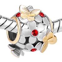 Charms Beads - SILVER 22K GOLD LIGHT RED FLOWER GOLDEN BUTTERFLY CHARM BRACELET alternate image 1.