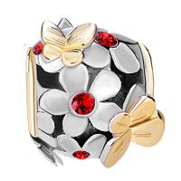 Charms Beads - SILVER 22K GOLD LIGHT RED FLOWER GOLDEN BUTTERFLY CHARM BRACELET alternate image 2.