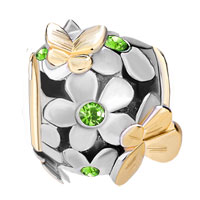 Charms Beads - SILVER 22K GOLD PERIDOT GREEN FLOWER GOLDEN BUTTERFLY CHARM BRACELET alternate image 2.