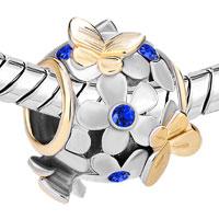 Charms Beads - SILVER 22K GOLD SAPPHIRE BLUE FLOWER GOLDEN BUTTERFLY CHARM BRACELET alternate image 1.