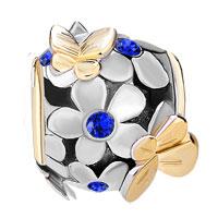 Charms Beads - SILVER 22K GOLD SAPPHIRE BLUE FLOWER GOLDEN BUTTERFLY CHARM BRACELET alternate image 2.