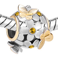 Charms Beads - SILVER 22K GOLD TOPAZ YELLOW FLOWER GOLDEN BUTTERFLY CHARM BRACELET alternate image 1.