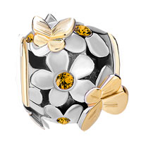 Charms Beads - SILVER 22K GOLD TOPAZ YELLOW FLOWER GOLDEN BUTTERFLY CHARM BRACELET alternate image 2.