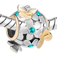 Charms Beads - SILVER 22K GOLD BLUE TOPAZ FLOWER GOLDEN BUTTERFLY CHARM BRACELET alternate image 1.